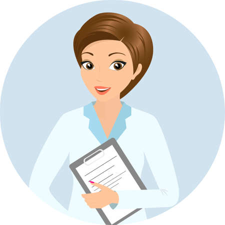 lab coat: Vector illustration of smiling doctor with a folder in her hand