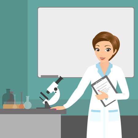 hipótesis: Mujer del químico afable en el laboratorio Vectores