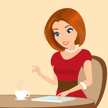 Young pretty woman sitting in the cafe and using a tablet pc