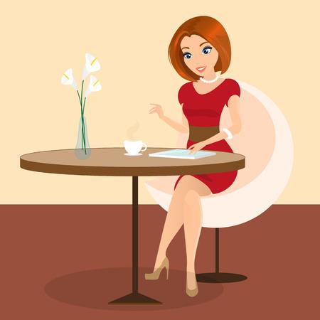 vrouw met tablet: Jonge mooie vrouw zitten alleen in het café en met behulp van een tablet pc