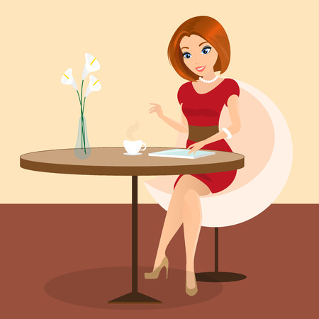 Young pretty woman sitting alone in the cafe and using a tablet pc  Vector