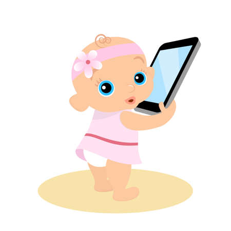 daughter cells: Little girl is playing with smartphone. Isolated illustration.