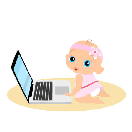 daughter cells: Little girl is playing with laptop. Isolated illustration.