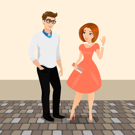 blissful: Young man and woman meet in the street to have a date. Contains EPS10 and high-resolution JPEG