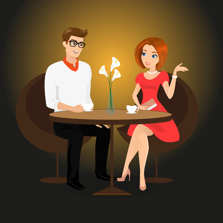 Young man and woman have a date in the restaurant. Contains EPS10 and high-resolution JPEG Vector
