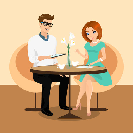 happy couple: Young man and woman using a tablets pc in the restaurant. Contains EPS10 and high-resolution JPEG Illustration