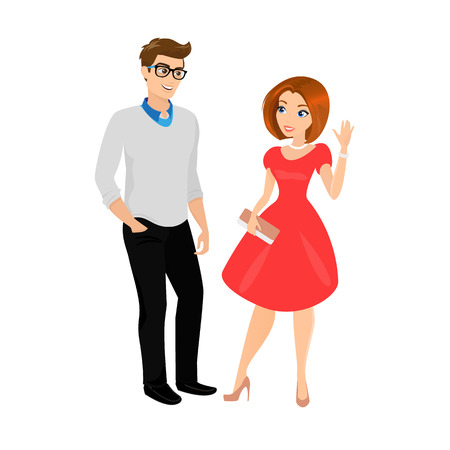 Young man and woman isolated.    Illustration