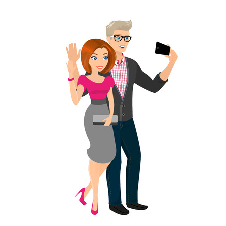 Vector illustration of happy couple is going out and taking a snapshot of themselves.   Vector