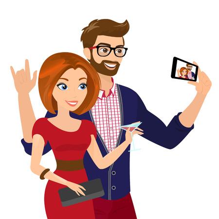 陽気なハンサムな男と赤いドレスを着た女性のクローズ アップ ベクトル イラストは自身のスナップショットを取っています。
