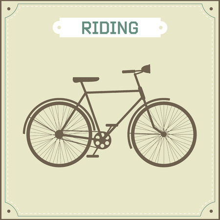 pedal: Vintage bike illustration in retro style green background with an emblem