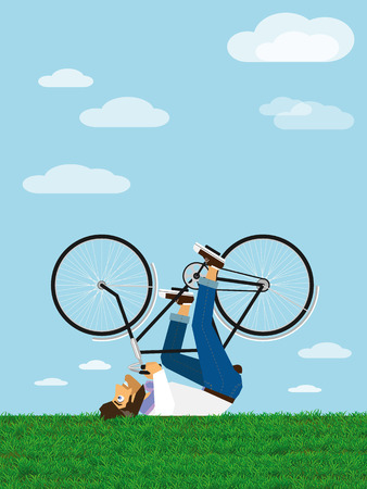 Hipster Character rides a bicycle in the sky (lying on the grass) Vector