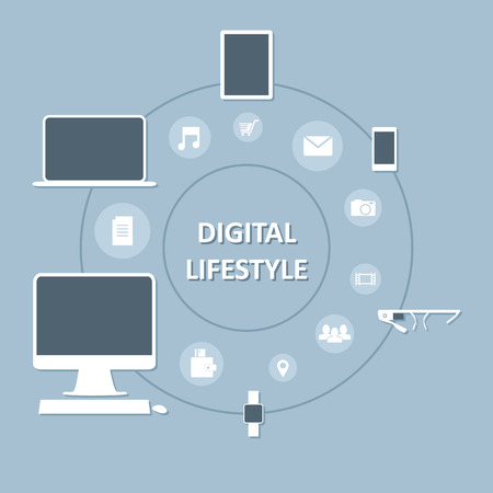 Infographic illustration of digital devices in our life Vector
