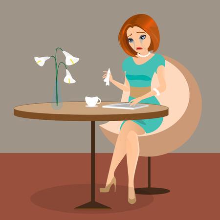 vrouw met tablet: Jonge sensuele mooie vrouw schreeuwt in het cafe met behulp van een tablet pc. Bevat en hoge-resolutie JPEG