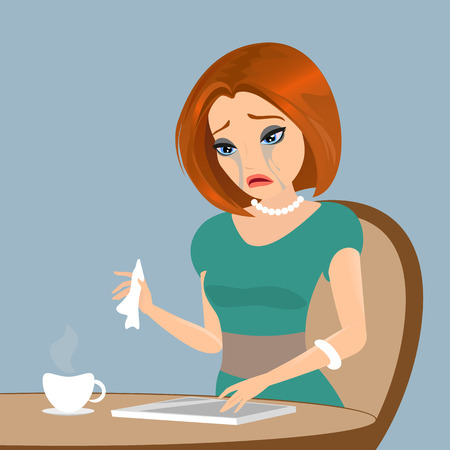 Young elegant woman is crying in the cafe - close up illustration.  Vector
