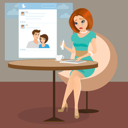 Young sensual pretty woman is crying in the cafe seeing a photo her boyfriend in social networking.  Illustration