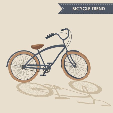 handlebar: Trendy bike with rotated handlebar and oblique shadow on beige background isolated Illustration