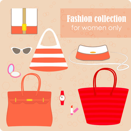 womens fashion: Womens fashion collection of bags and accessories. Coral colored
