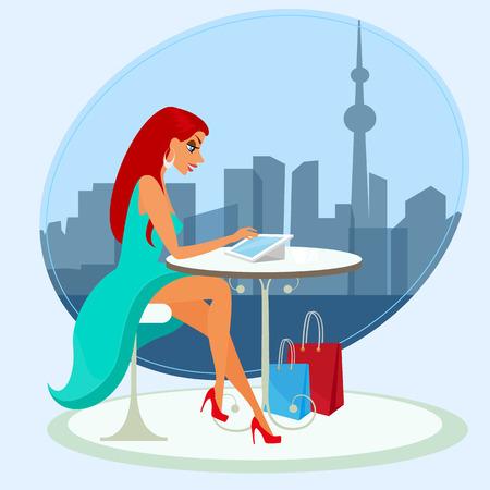 vrouw met tablet: Jonge mooie vrouw zit alleen in het cafe en met behulp van een tablet-pc Stock Illustratie
