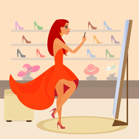 Redhair woman is taking a snapshot for social networking in the shopping mall   Vector