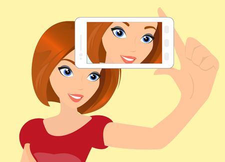 Vector illustration of redhair girl taking a self snapshot.  Çizim