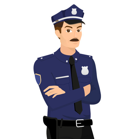 Policeman isolated on white illustration  Vector