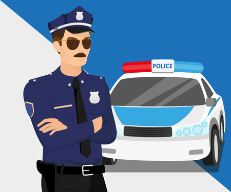 Policeman wearing sunglasses and police car   Illustration