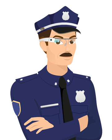 Policeman wearing smart glasses