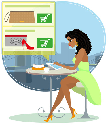 Pretty black hair woman sitting alone in the cafe and doing shopping online   Vector