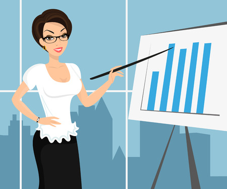 white blouse: Business woman wearing white blouse and representing a diagram