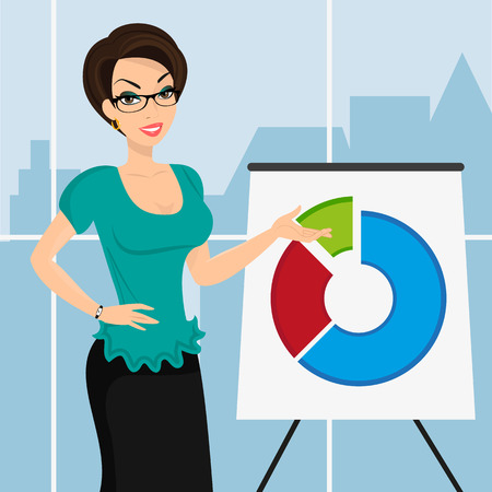 Business woman is representing a round diagram in the office   Vector