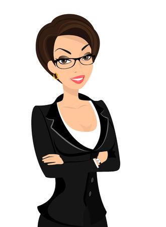 ビジネスの女性は白で隔離される黒のスーツを着ています。