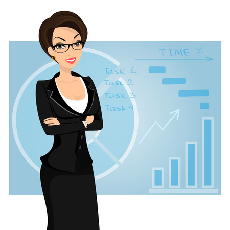 sexy teacher: Business woman is wearing black suit on blue background