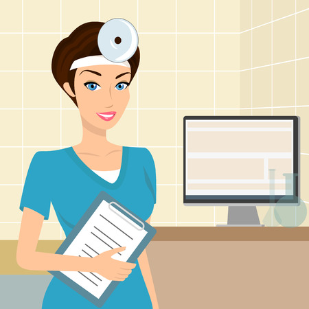otolaryngologist: Vector illustration of smiling doctor otolaryngologist in the laboratory. Contains EPS10 and high-resolution JPEG