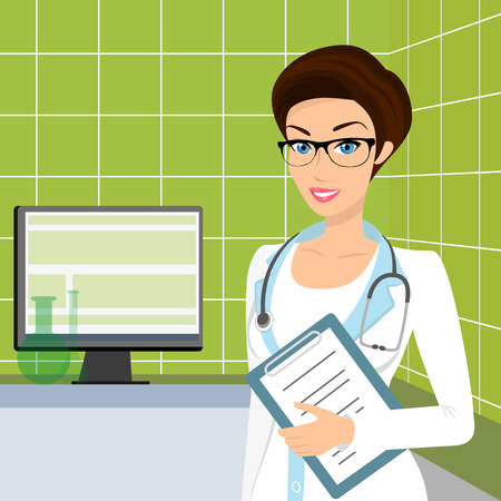 consulting room: Vector illustration of smiling doctor wearing glasses in the consulting room.