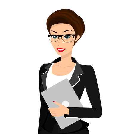 Business woman is wearing black suit isolated on white.  Vector