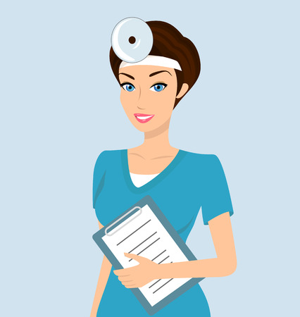 doctor vector: Vector illustration of smiling doctor otolaryngologist with a folder in her left hand.