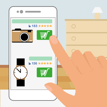 Human hand is holding smartphone and doing online shopping .  Vector