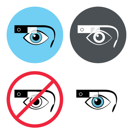 worktool: Smart glasses round icon set  Contains EPS10 and high-resolution JPEG