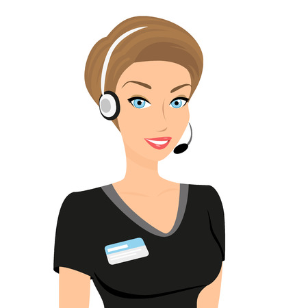 call center female: Female call centre operator with headset and smiling