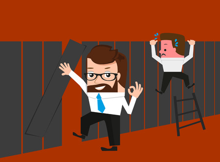 knows: Lucky businessman knows easy route through fence. Conceptual illustration.