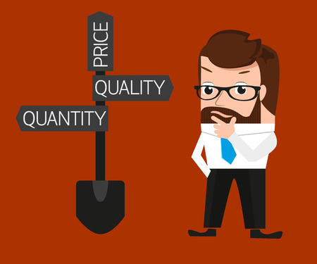 quantity: Businessman is trying to make a choice between quantity and quality. Conceptual illustration.  Illustration