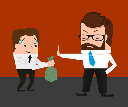 subornation: Businessman has refused a bribe. Conceptual illustration.  Illustration