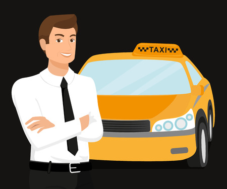 Taxi driver and yellow car behind him  Illustration