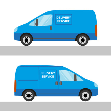 waggon: Blue delivery van isolated view from two sides on white