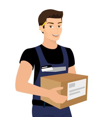 Service de livraison homme avec une boîte dans ses mains