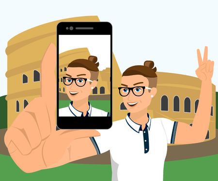 Selfie of hipster wearing in Rome  Vector