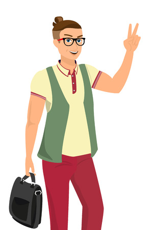 handsome guy: Handsome guy wearing red fashion jeans and yellow t-shirt, vector illustration