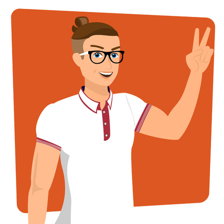 menswear: Handsome guy wearing white t-shirt, close-up vector illustration   Illustration