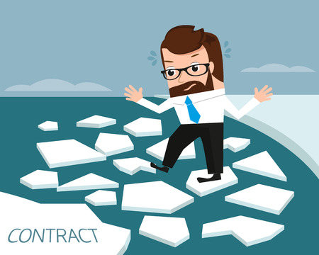devious: Lucky businessman on ice river. Conceptual illustration.  Illustration