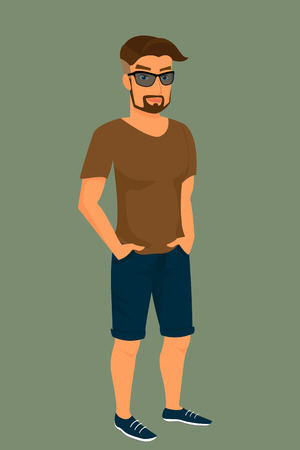 Hipster guy wearing blue shorts, brown t-shirt and sunglasses.